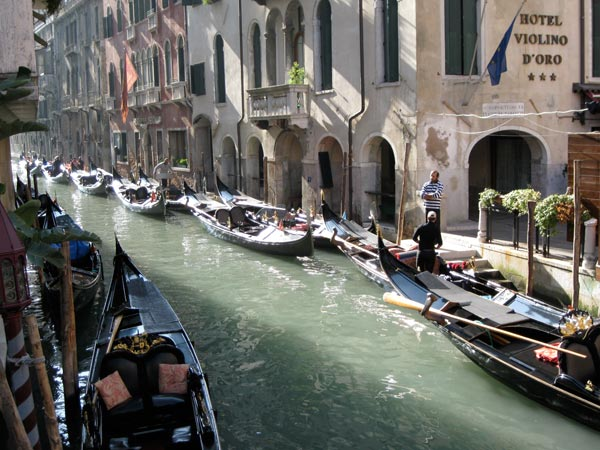 Venice Gondolas, on canal