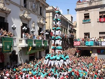 Castellana human towers of Barcelona Spain