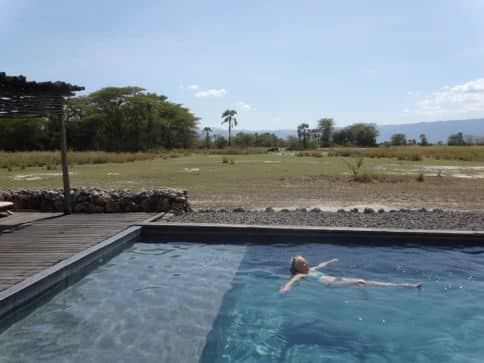 game viewing front the pool on Tanzania Soft Safari