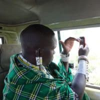 Masaii with cell phone in Kenya