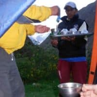 morning tea service to the tent on Incan Trail, Peru