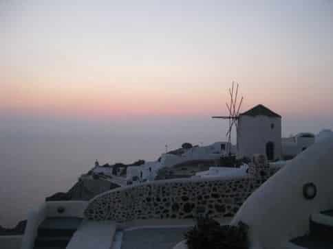 sleeping under the windmill Santorini Greece