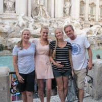 clients before Trevi Fountain in rome italy