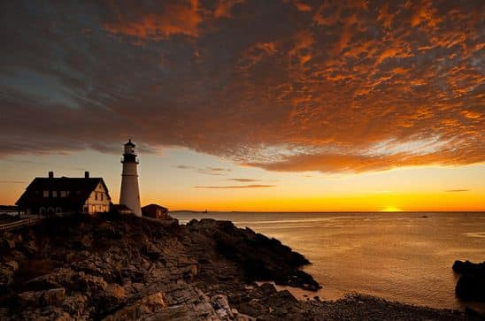sunset at Maine lighthouse New England