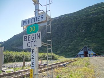 one-way only in Whittier railroad tunnel Alaska