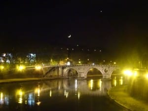 small moon over rome