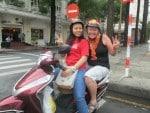 me and kelly on back of the bike street food tour Saigon Vietnam