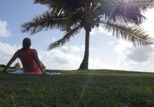 yoga under the palm trees of Antigua