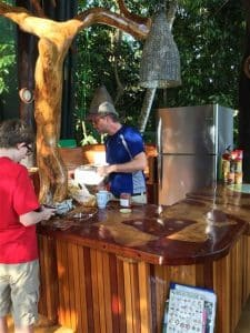 Cooking in the custom kitchen at the Costa Rica treehouse