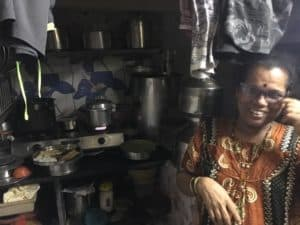 Usha at her Dharavi stove in India's Dharavi