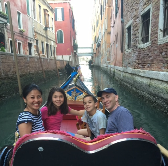 Goh family bonds in gondola Venice Italy