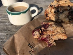 Blueberry scone starts the morning on Monhegan, Maine