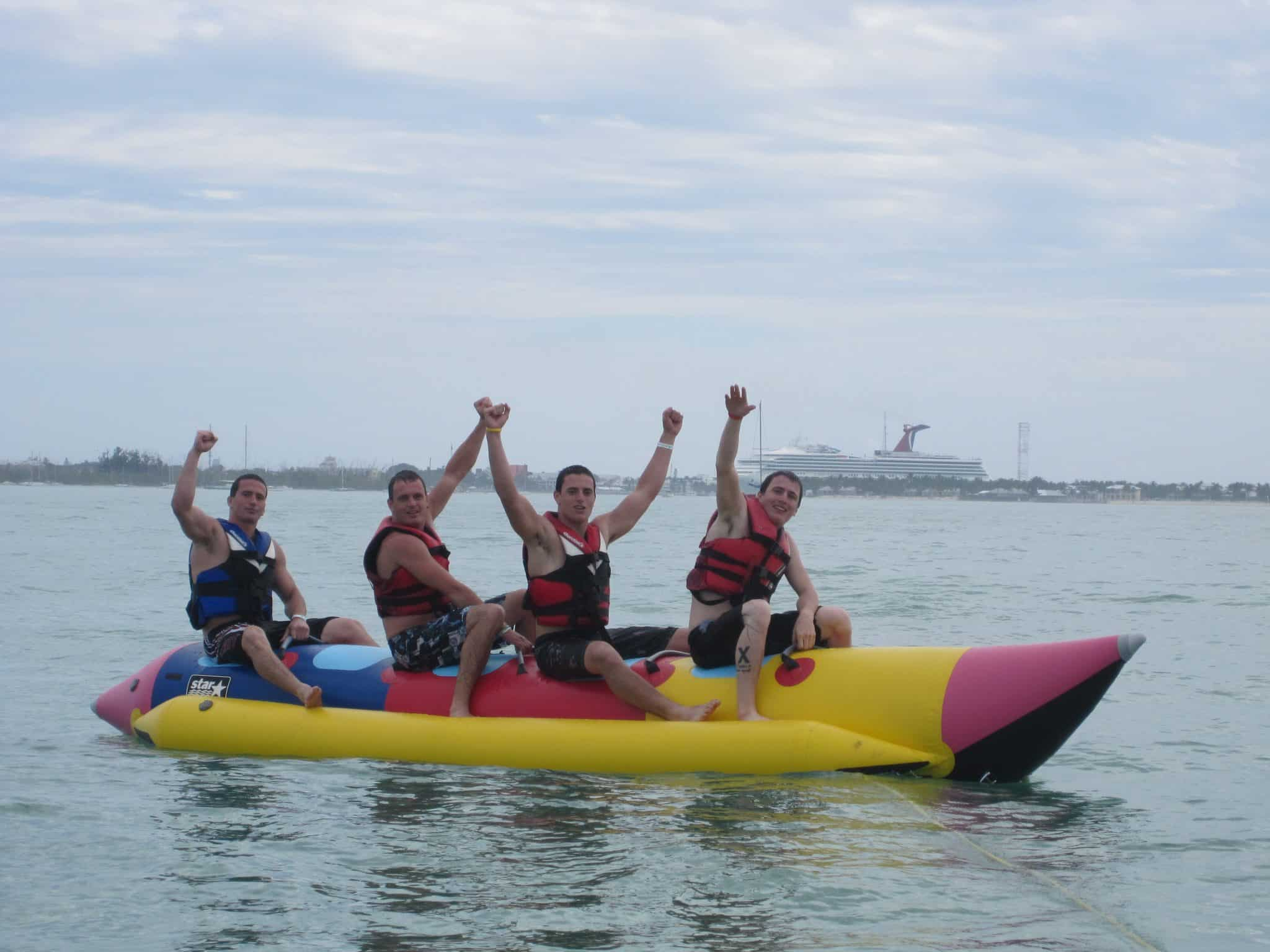 4-sons-of-rare-finds-ceo-melanie-celebrate-on-banana-boat-key-west