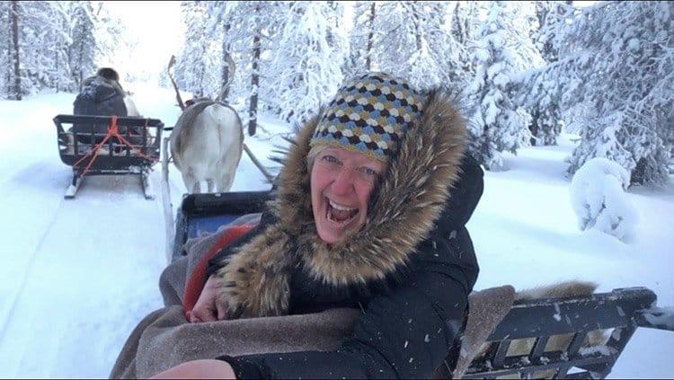 Lapland-Melanie-having-fun-reindeer-safari-CEO-Rare-Finds-Travel